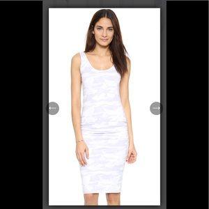 Monrow White Camo Shirred Dress